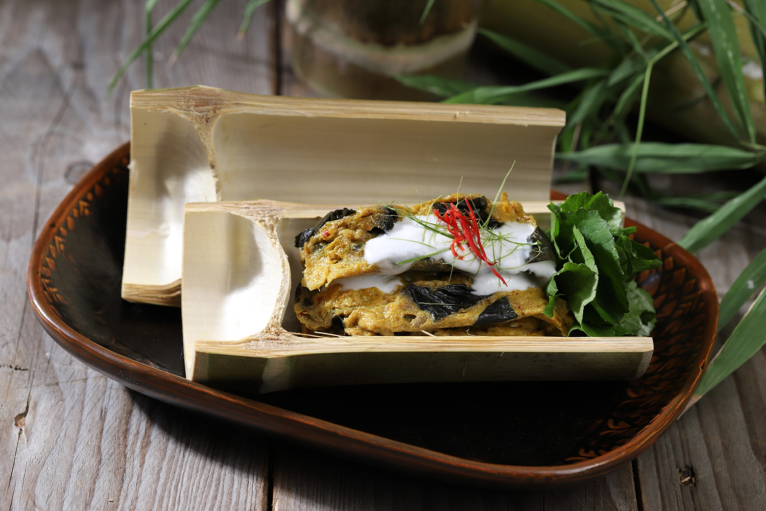 Thai Steamed Curried Fish in Bamboo Tube